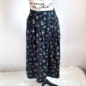 Worthington High Waist Vintage Black Floral Skirt